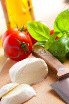 fresh mozzarella with tomato and basil