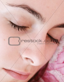 Beautiful young woman sleeping.