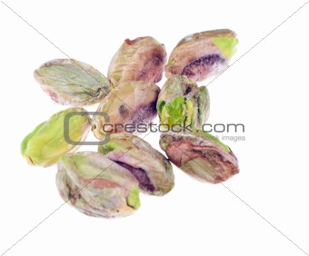 A bunch of delicious peeled Pistachio nuts