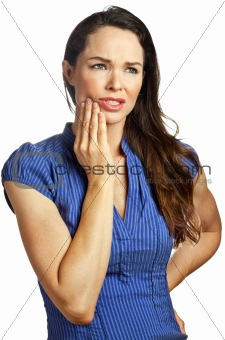 Attractive young woman with toothache