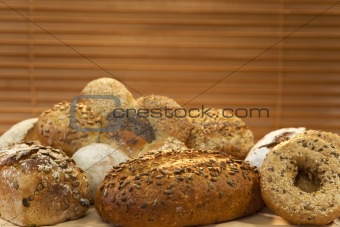A Selection Of Rustic Wholemeal and Seeded Handmade Bread Loaves