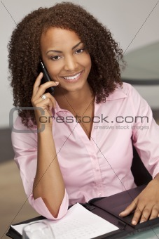 Beautiful Mixed Race African American Woman Talking On Cell Phon