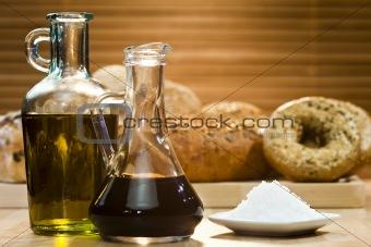 Olive Oil, Balsamic Vinegar, Salt and Rustic Bread