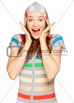 Beautiful young surprised woman looking at camera.