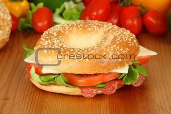 Fresh bagle sandwich with salami