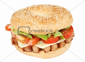 Fresh bagle sandwich isolated over white background