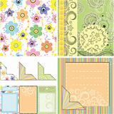 Set of backgrounds and elements for scrapbooking