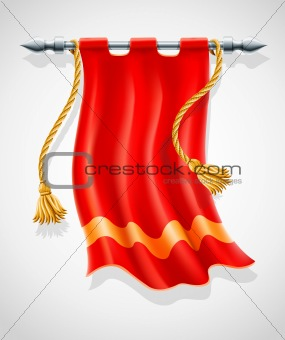 antique red flag flapping on wind