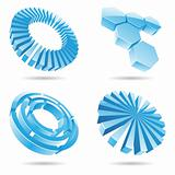 Ice blue 3d abstract icons