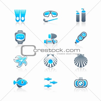 Scuba diving icons | MARINE series