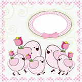 Mother's Day. Background with cartoon birds. Vector.