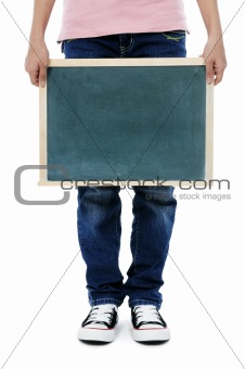 Holding a blackboard over white background