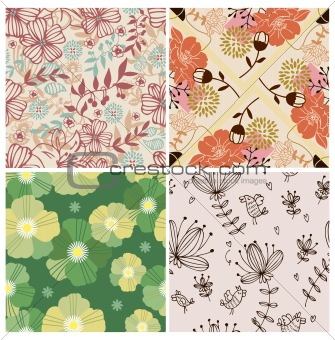 4 flower seamless pattern