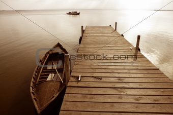 Albufera lake wetlands pier in Valencia Spain