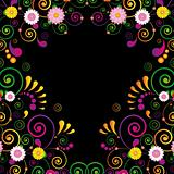 Flower frame for the poster of Hawaiian night party.