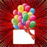 Colorful brightly backdrop with balloons, stars, card... -for yo
