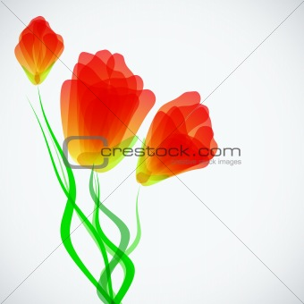 Abstract trendy background with tulips