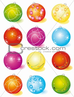 A set of glass Christmas balls