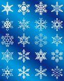 Collection of snowflakes on a blue background