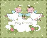Little angels wishing a Merry Christmas, vector