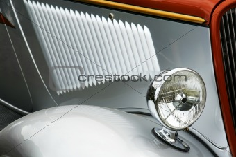 Old silver car detail