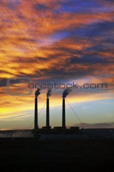 3 Smoke Stacks in Page, Arizona