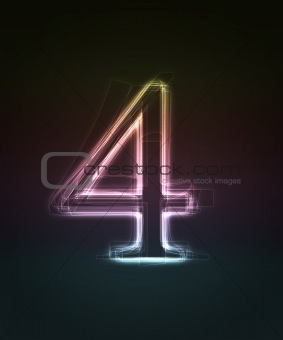 Shiny font. Glowing number 4.