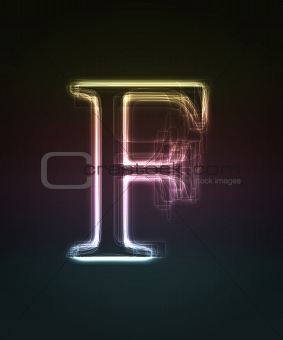 Glowing font. Shiny letter F.