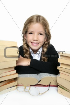 little blond happy student girl  smiling