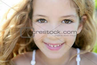 beautiful little girl portrait smiling closeup fac