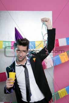Happy party young man drinking enjoying alone