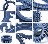 gears composition in blue