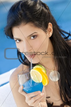 Beautiful Hispanic Latina Woman Drinking A Cocktail