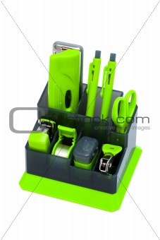 green desk organizer
