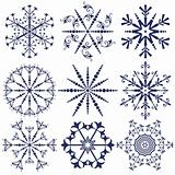 Set dark blue snowflakes