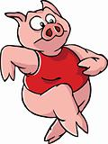 Running cartoon pig