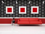 classic interior with modern red couch