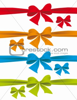 A set of colorful bows