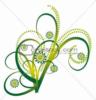 Abstract bouquet of green curls