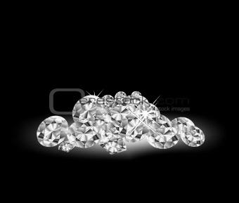 Vector Diamonds on black surface