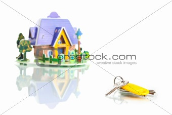 house with keys isolated on white