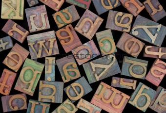 alphabet in vintage wood type