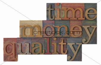 time, money, quality