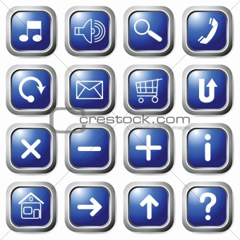 Blue square buttons with symbols.