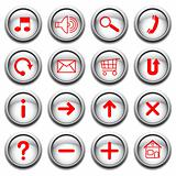 Vector buttons with red symbols.