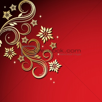 Vintage floral background Red and Gold