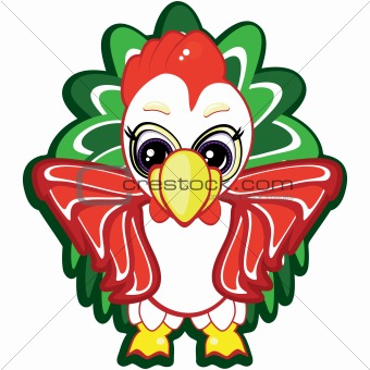 Little rooster - one of the symbols of the Chinese horoscope. Vector.