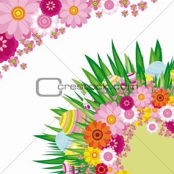 Floral background with Easter eggs