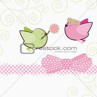 Background with cartoon birds.
