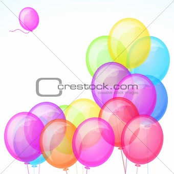 Group of colorful balloons isolated on white background. Vector.